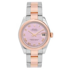 Rolex Ladies Rose Gold Stainless Steel Datejust Automatic Wristwatch Ref 178241