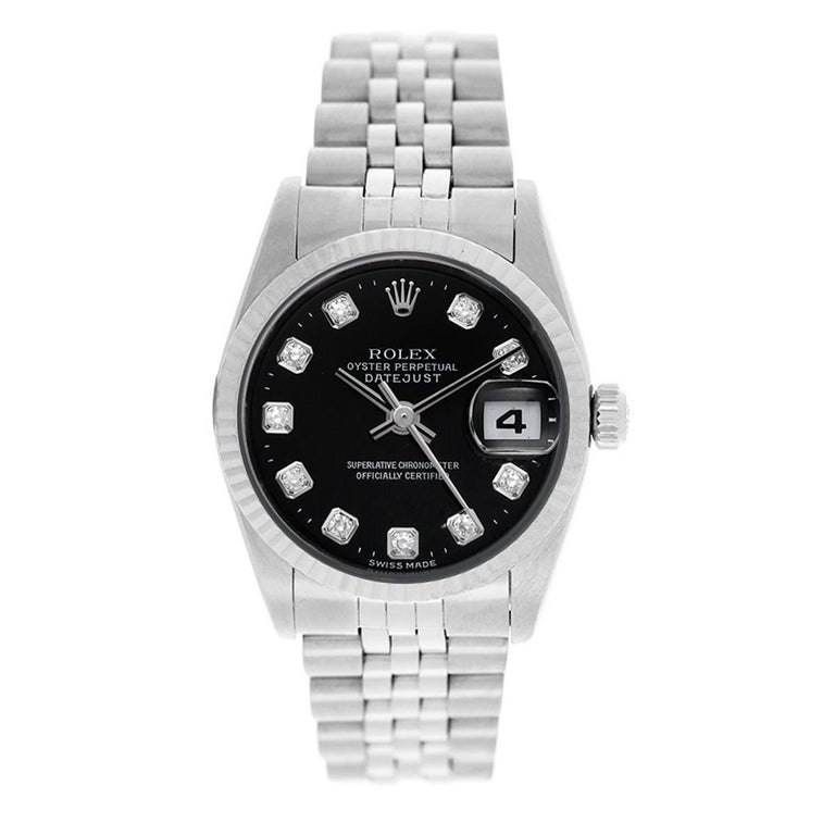 Rolex Stainless Steel Midsize Datejust Black Dial Automatic Wristwatch For Sale