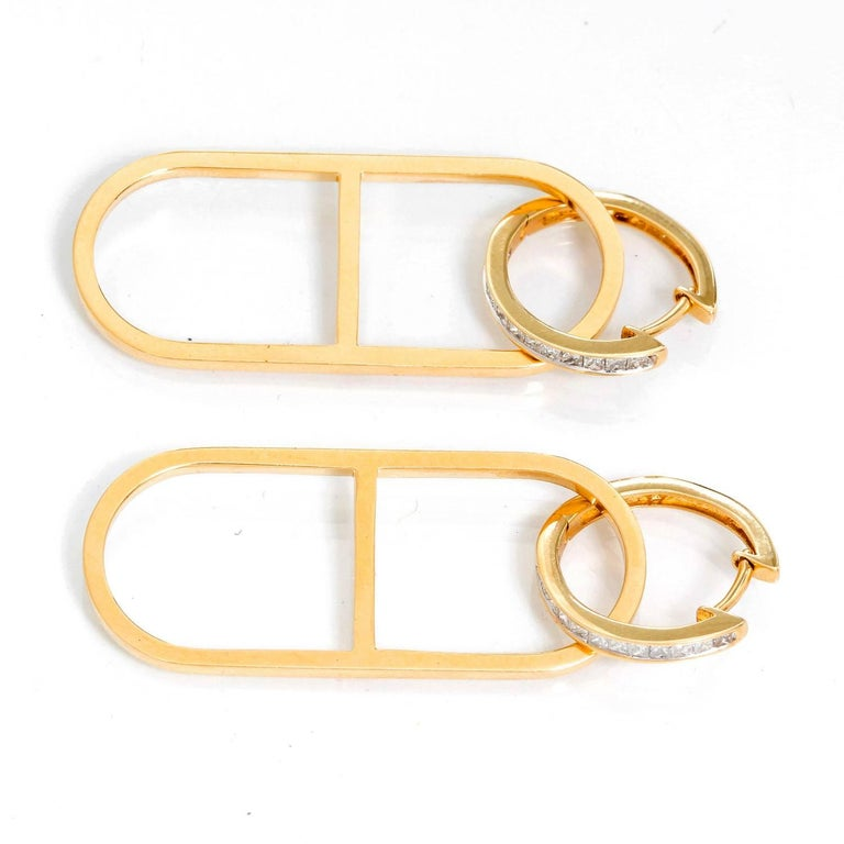 18K Yellow Gold Link Hoop Earrings - . Beautiful diamonds hoops with 18K Yellow Gold links. Total weight 11.4 grams.