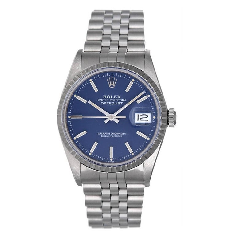 Rolex Stainless Steel Datejust Automatic Wristwatch Ref 16030