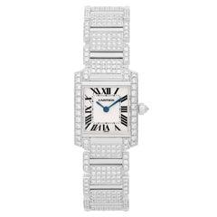 Cartier Ladies White Gold Diamond Tank Francaise Quartz Wristwatch