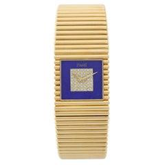 Piaget Ladies Yellow Gold Lapis Lazuli Diamond Dial Emperador Quartz Wristwatch