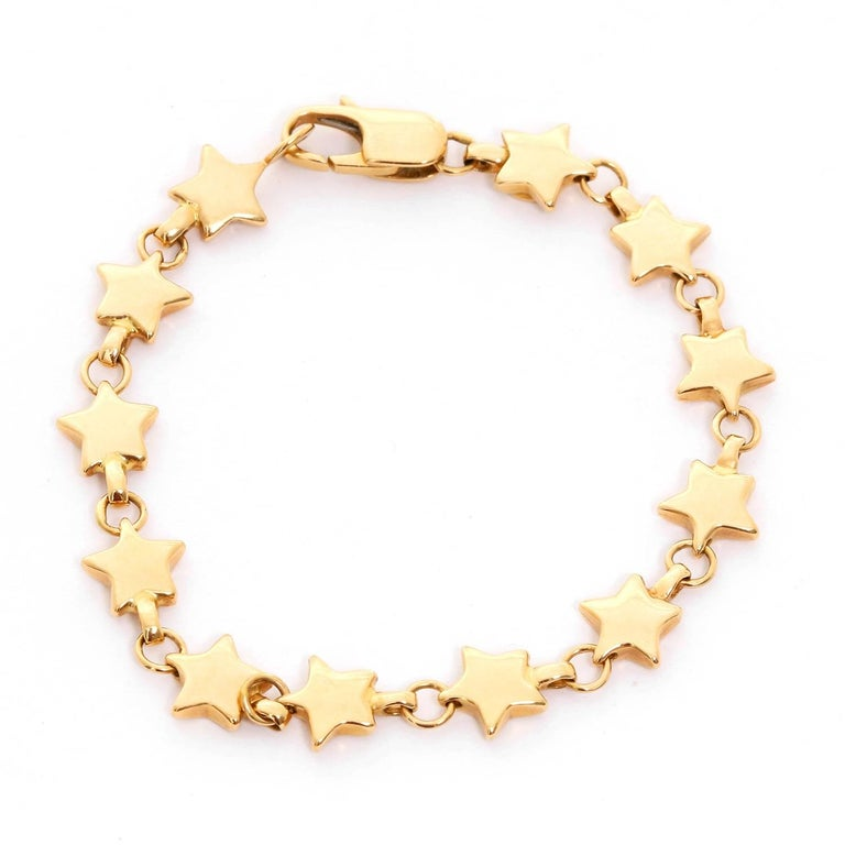 18 Karat Yellow Gold Star Link Bracelet In Excellent Condition For