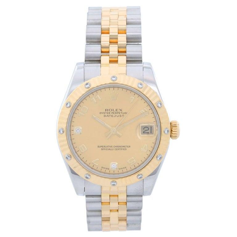 Rolex yellow gold Stainless steel Diamond Midsize Datejust Automatic Wristwatch