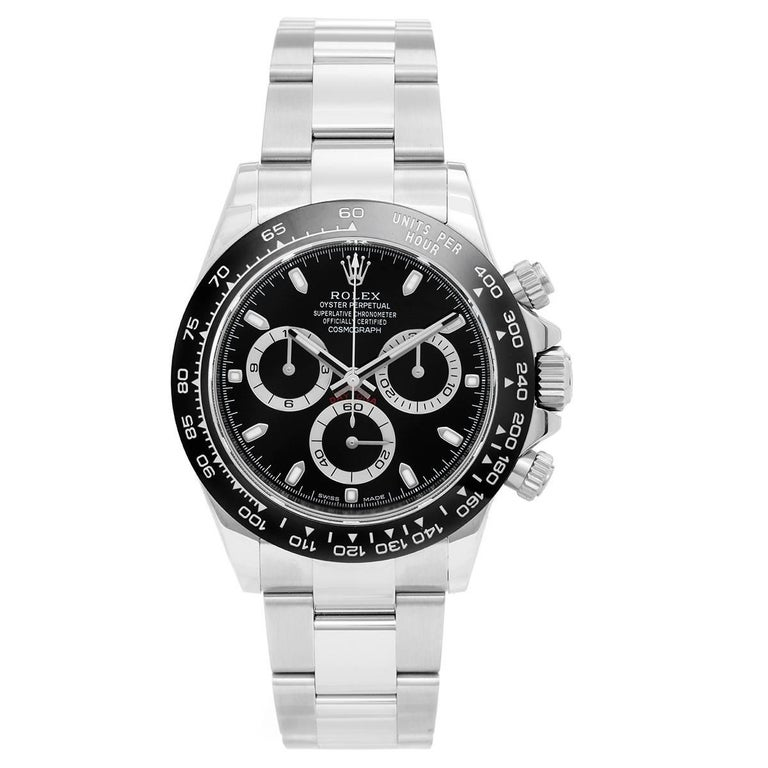 Rolex Stainless Steel Ceramic Black Dial Cosmograph Daytona Automatic Wristwatch