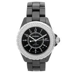 Chanel Black Ceramic Diamond J12 Collection Automatic Wristwatch Ref H0969