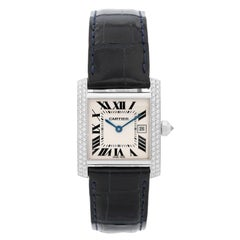 Cartier White Gold Diamond Tank Francaise Midsize Quartz Wristwatch Ref WE101851