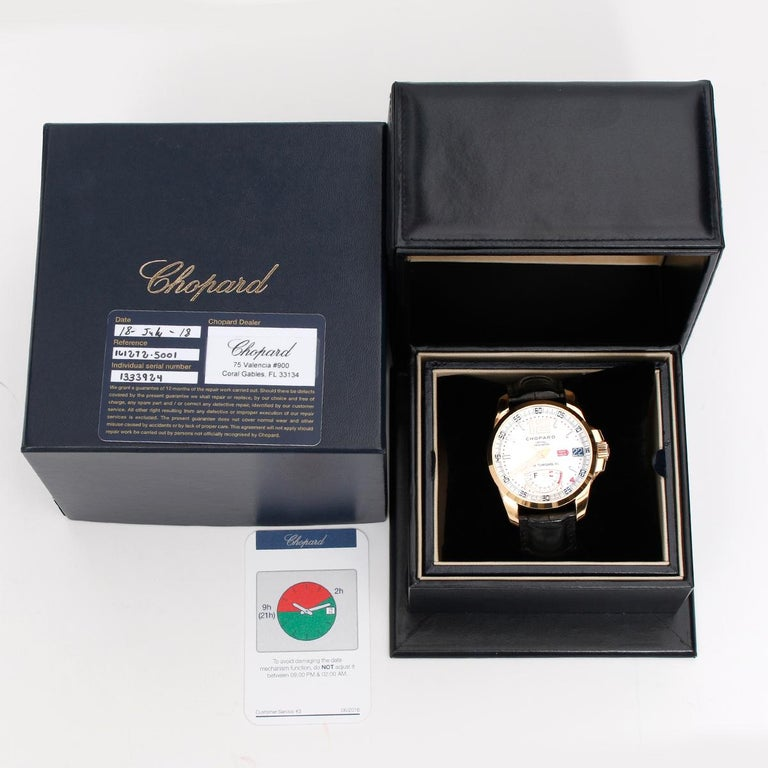 Chopard Gran Turismo XL Watch 161272-5001 - Automatic winding. 18K Rose gold ( 44 mm ). White dial with power reserve at 6 o'clock. Black leather strap with double deployant buckle. Pre-owned with Chopard box box and service papers dated 2018. Just