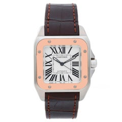 Cartier Rose Gold Stainless Steel Santos 100 Automatic Wristwatch Ref W20107X7