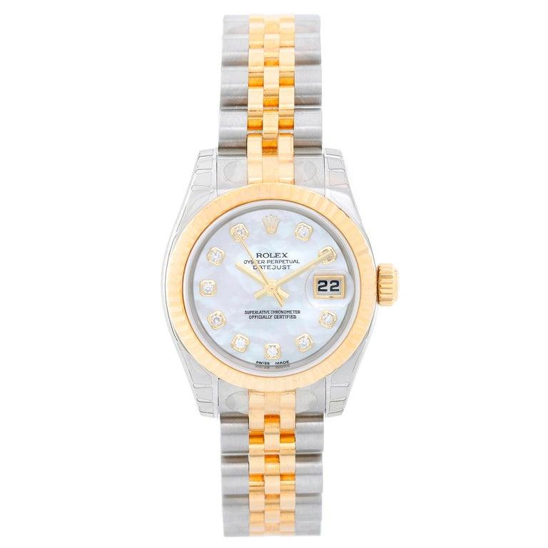 Rolex Ladies Yellow Gold Stainless Diamond Datejust Automatic Wristwatch 179173