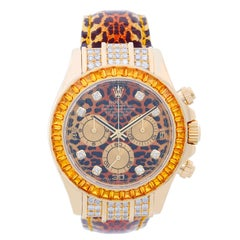 Rolex Yellow Gold Leopard SACO Daytona Cosmograph automatic Wristwatch 116598
