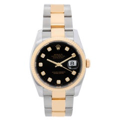 Rolex yellow gold Stainless steel Datejust Black Dial Automatic Wristwatch116233