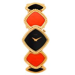 Piaget Ladies Yellow gold Coral Opal Manual Wristwatch, circa 1980s