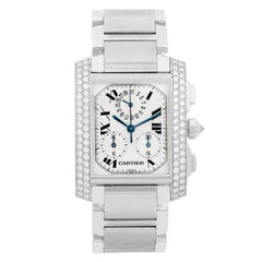 Cartier Ladies White Gold Tank Francaise Chronograph Automatic Wristwatch