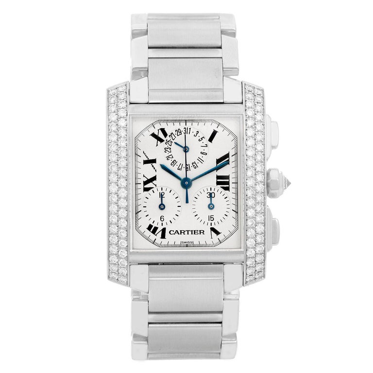 Cartier Ladies White Gold Tank Francaise Chronograph Automatic Wristwatch