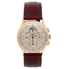 Universal Geneve Yellow Gold Chronograph Manual Wristwatch