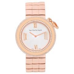 Van Cleef & Arpels Charms 18 Karat Rose Gold Diamond Watch
