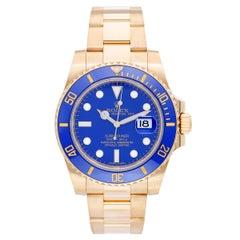 Rolex Submariner 18 Karat Yellow Gold Men's Watch Blue Dial 116618