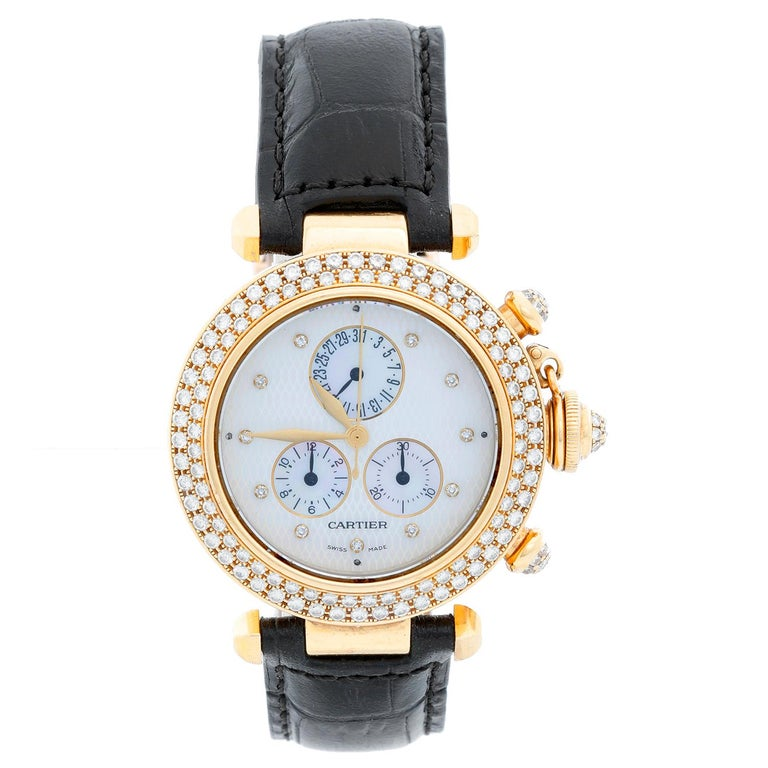 Cartier Pasha 18 Karat Yellow Gold and Diamond Ladies Watch on Black Strap Band For Sale