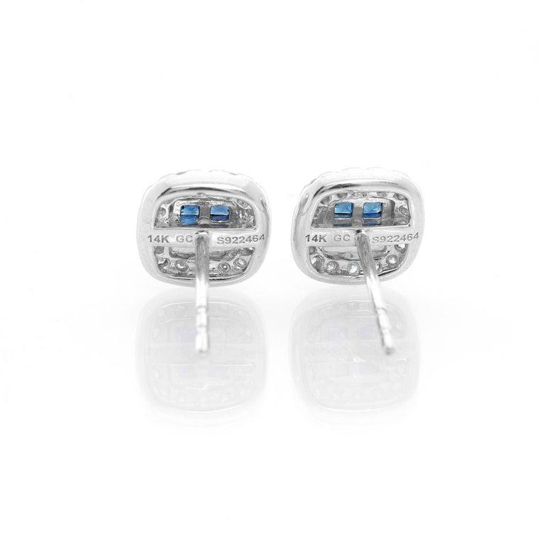 14 Karat White Gold Sapphire and Diamond Earrings For Sale 1
