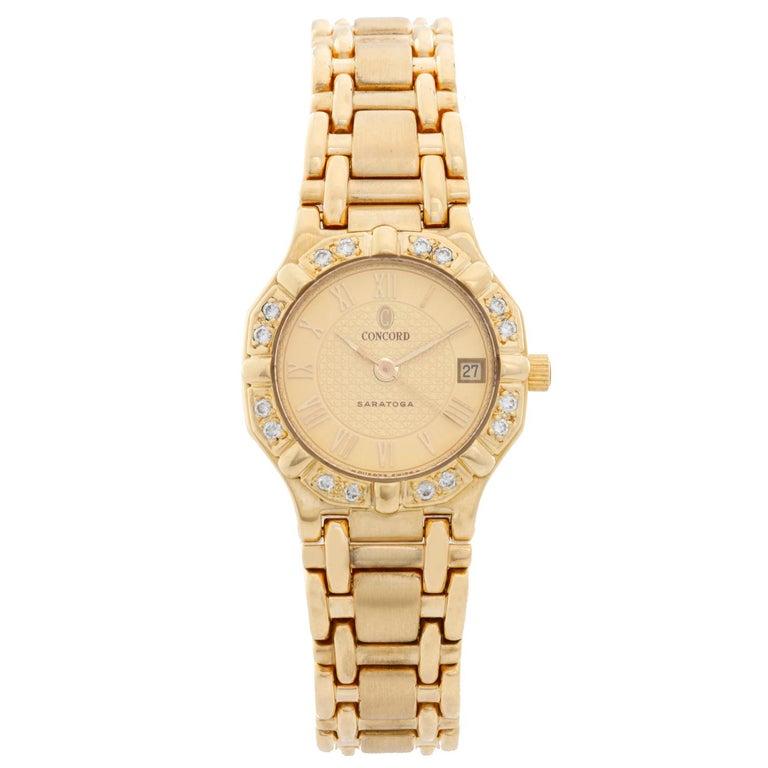 Concord Ladies 18 Karat Yellow Gold Saratoga Ladies Watch For Sale