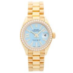 Ladies Rolex President 18 Karat Yellow Gold Diamond Watch 279138