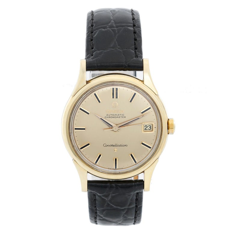 Omega Constellation Automatic 18 Karat Yellow Gold Watch For Sale