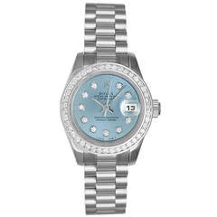 Rolex Lady's Platinum President Glacier Blue Diamond Dial Wristwatch Ref 179136