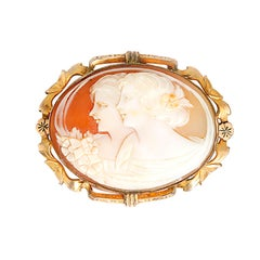 Beautiful 1900s Cameo Gold Brooch