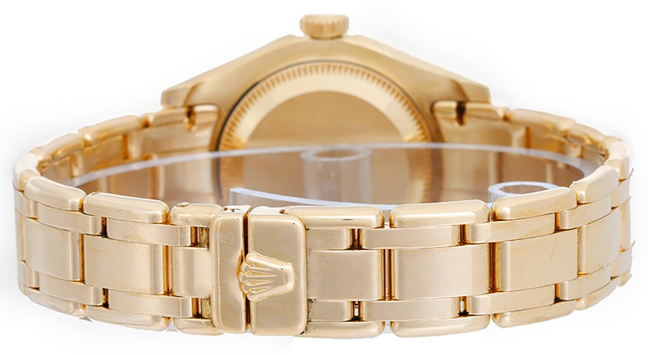 Rolex Lady's Yellow Gold Diamond Masterpiece Pearlmaster Wristwatch Ref 69298 2
