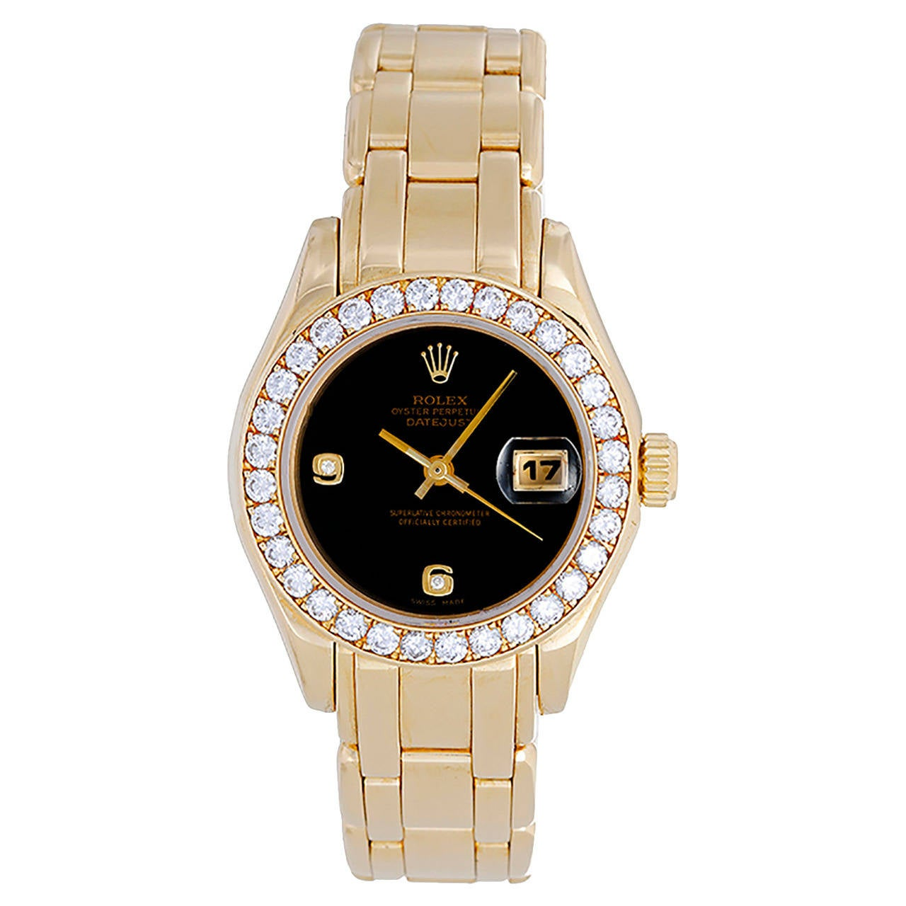 Rolex Lady's Yellow Gold Diamond Masterpiece Pearlmaster Wristwatch Ref 69298 For Sale