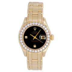 Rolex Lady's Yellow Gold Diamond Masterpiece Pearlmaster Wristwatch Ref 69298