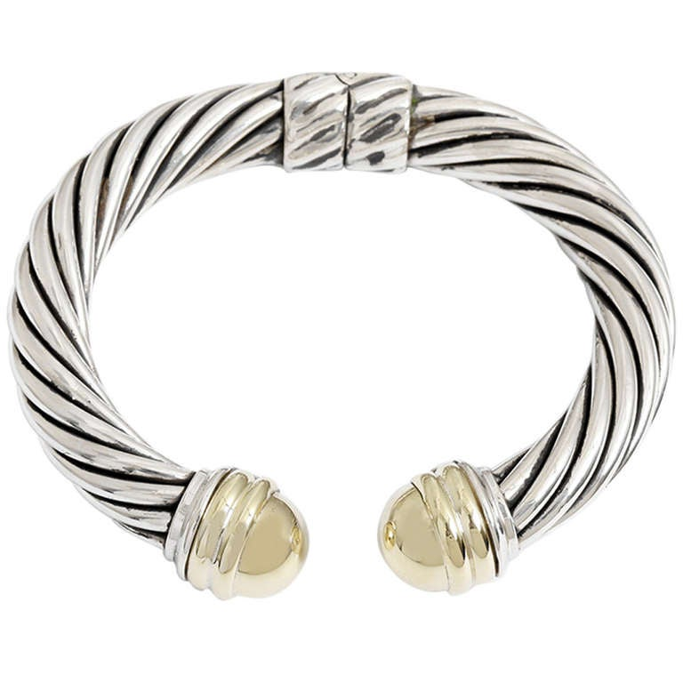 David Yurman Yellow Gold Dome And Sterling Silver Cable Bracelet For