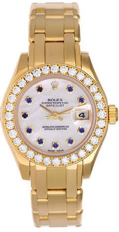 Rolex Ladies Masterpiece/Pearlmaster Gold Diamond Watch 69828