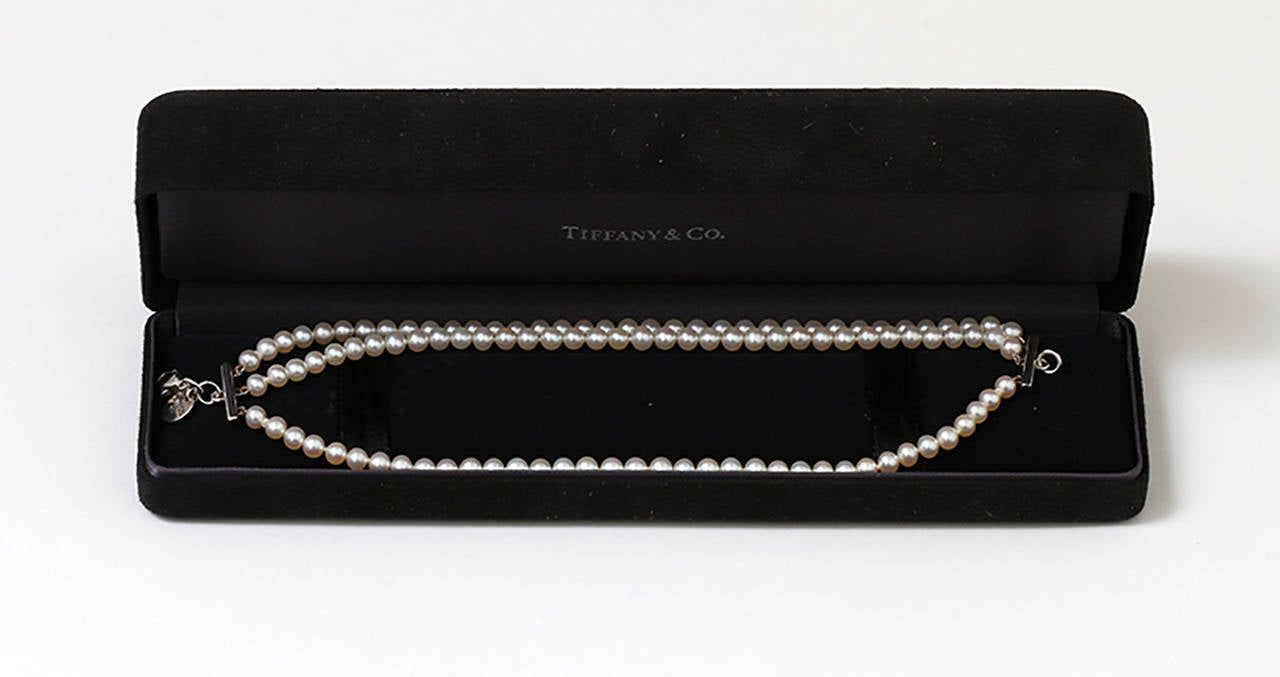 Tiffany & Co. Sterling Silver and Three Strand Akoya Pearl Bracelet 3