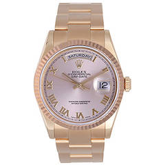 Rolex Rose Gold President Day-Date Roman Dial Wristwatch Ref 118235