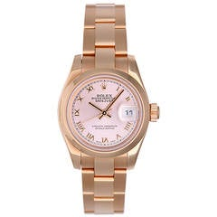Rolex Lady's Rose Gold Pink Dial Automatic President Wristwatch Ref 179165