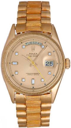 Rolex President Day-Date Gold Barked Men's Diamond Watch 1807