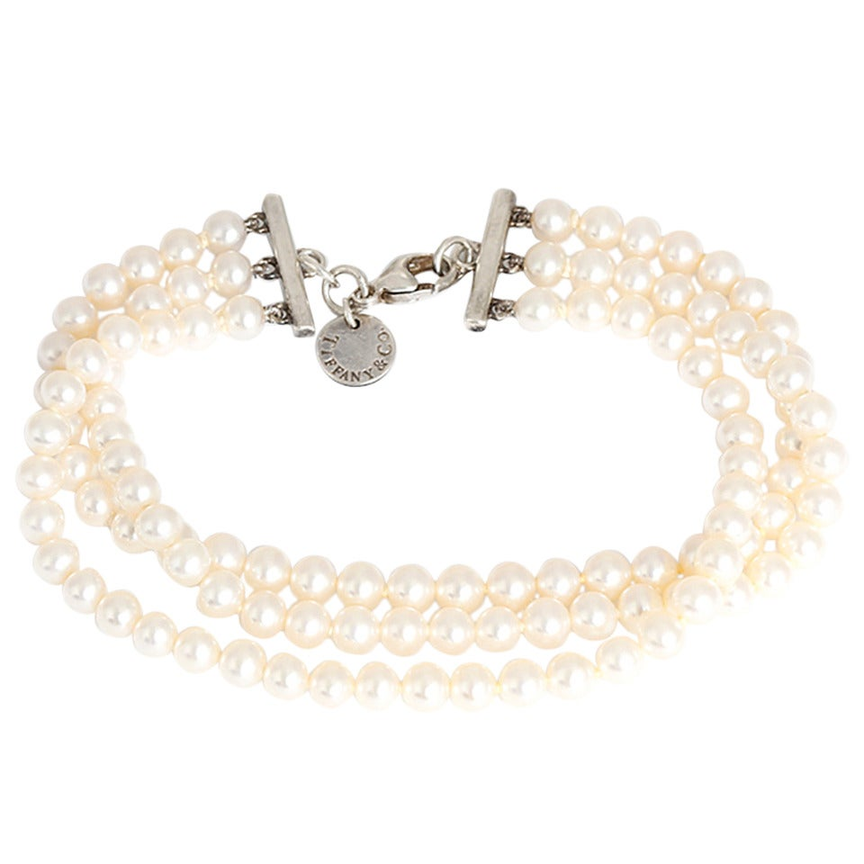 Tiffany & Co. Sterling Silver and Three Strand Akoya Pearl Bracelet 1