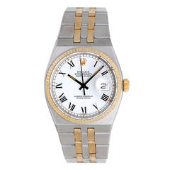 Rolex Yellow Gold Stainless Steel Oysterquartz Datejust Wristwatch Ref 17013