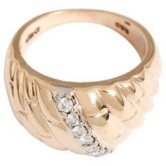 Beautiful Diamond Gold Dome Ring