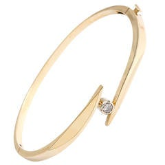 Diamond Gold Bangle Bracelet Hinged with Safety Clasp