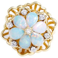 Opal Diamond Yellow Gold Flower Cocktail Ring