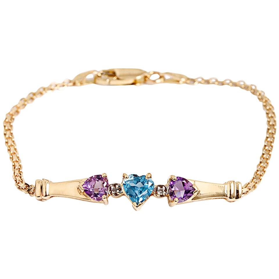 Beautiful Topaz Amethyst Gold Bracelet at 1stdibs
