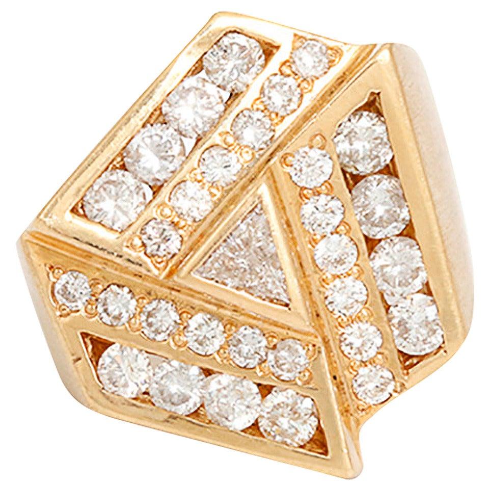 Beautiful Diamond Gold Geometric Ring