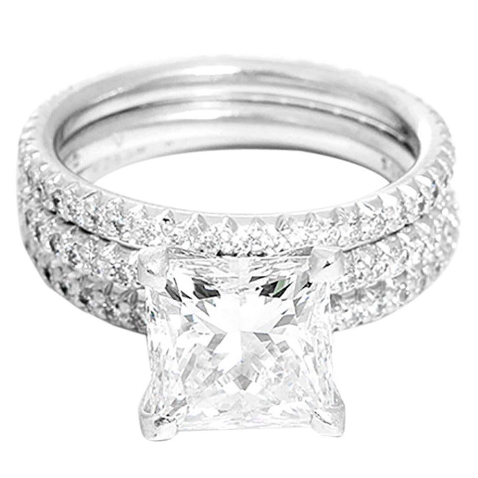 Stunning GIA Certified 3 00 Carat Diamond Platinum Wedding Set at 1stdibs