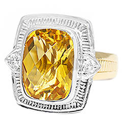 Beautiful 10 Carat Citrine Diamond Two Color Gold Cocktail Ring