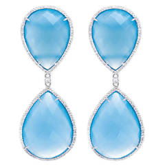 Beautiful Large Pear Shaped Blue Agate Diamond Gold Earrings