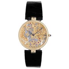 Patek Philippe Yellow Gold Skeleton Wristwatch Ref 3878
