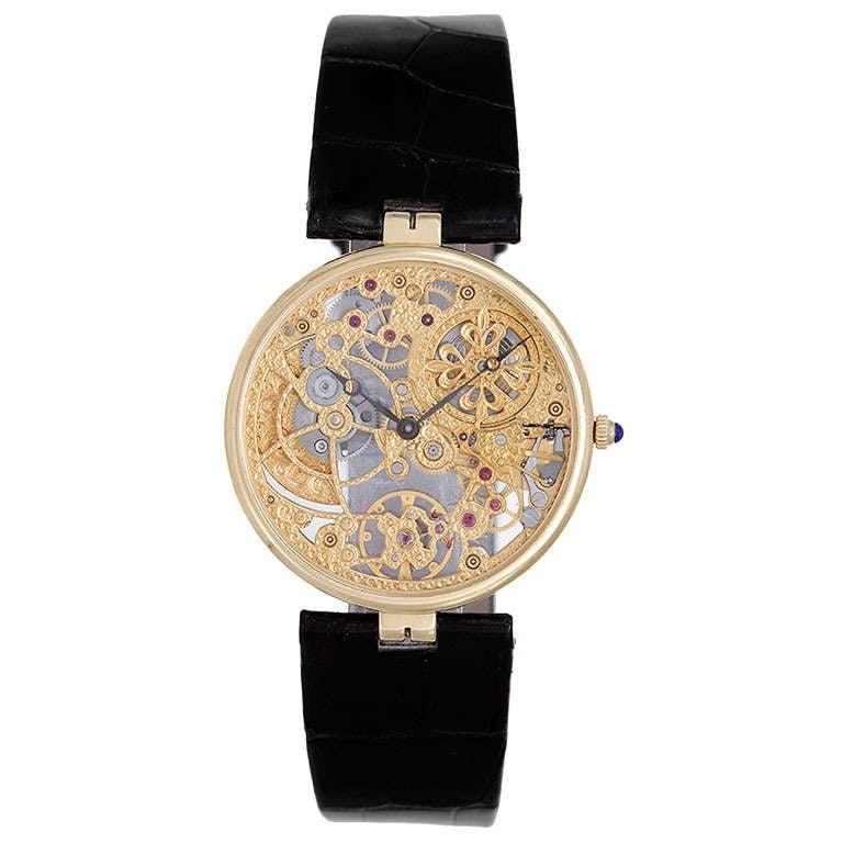 Patek philippe yellow gold skeleton wristwatch ref 3878 at 1stdibs for Patek philippe skeleton
